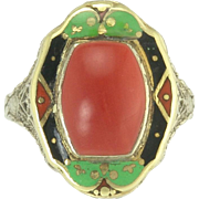 Exciting Art Deco Coral and Enamel Ring in 14k
