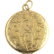 Charming Engraved Victorian Locket in 14k