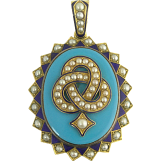 Powerful Antique Victorian Gold Enamel and Pearl Knot Locket