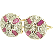 Art Deco Rose Cut Diamond and Ruby Earrings in Platinum Topped 18k Gold