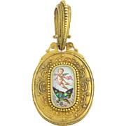 Antique Victorian Enamel Cherub Angel Putti Butterfly Flower Locket in 18k Gold with Rose Cut Diamonds