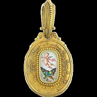Antique Victorian Enamel Cherub Angel Putti Butterfly Flower Locket in 18k Gold with Rose Cut Diamonds