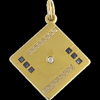 Vintage Art Deco 18k Gold Diamond Sapphire Filigree Watch Fob Pendant Charm