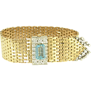 Sophisticated Vintage Aquamarine and Diamond Fringe 18k Gold Strap Bracelet
