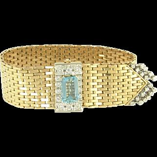 Sophisticated Vintage Aquamarine and Diamond Fringe 18k Gold Strap Bracelet