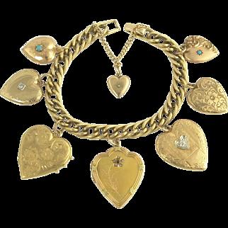 Romantic Antique Vintage Gold Heart Locket and Puffy Charm Bracelet