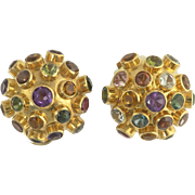 Delightful Mid-Century Multi-Gemstone Sputnik Ear-Clips in 18k