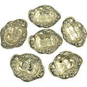 Antique Art Nouveau George K Webster Sterling Silver Thistle Motif Nut Dishes or Cups - Set of Six