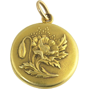 Antique Art Nouveau Sloan and Co 14k Gold Poppy Flower Locket