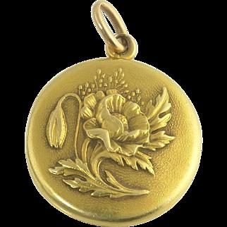Antique Art Nouveau Sloan and Co 14k Gold Poppy Flower Locket