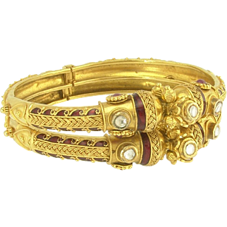 Exotic Pair of Vintage 22K Gold Bangle Bracelets with Hearts Rubies White Sapphires and Red Enamel