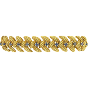 Tiffany Sixties 18k Rose Gold Blue Sapphire Link Bracelet