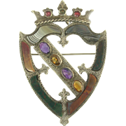 Impressive Victorian Signed Scottish Agate Gem-Set Luckenbooth Shield Brooch in Sterling Silver