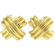 Tiffany 18k Gold Signature X French Clip Earrings