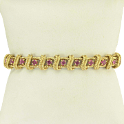Tiffany and Co Ruby and 18k Gold Link Bracelet - Vintage Sixties