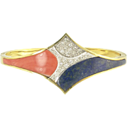 Delightful  Mid-Century Coral Lapis and Diamond Bangle Bracelet in 14k