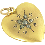 Romantic Vintage Rose-Cut Diamond Heart Pendant in 14k