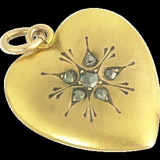 Romantic Vintage Rose-Cut Diamond Heart Pendant in 14k