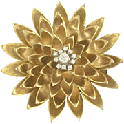 Jazzy Mid-Century Diamond and Gold Petal Clip-Brooch in 14k
