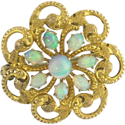 Antique Victorian Opal Pin or Brooch in 14k Gold