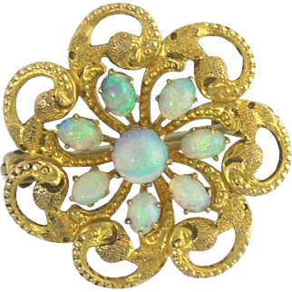 Antique Victorian Opal Pin Brooch in 14k Gold