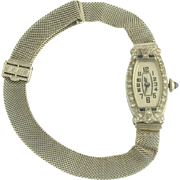 Pretty Art Deco Diamond and Sapphire Ladys Mesh Wrist Watch in 14k and 10k White Gold
