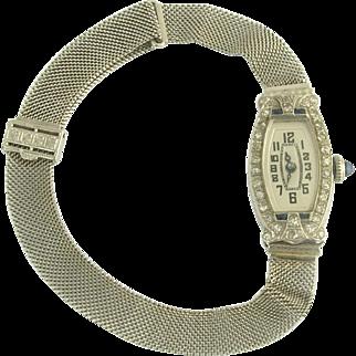 Pretty Art Deco Diamond and Sapphire Ladies Mesh Wrist Watch in 14k and 10k White Gold