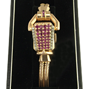 Paul Ditisheim Vintage Retro Natural Ruby Diamond and 14k Rose Gold Wristwatch