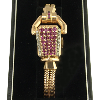 Paul Ditisheim Vintage Retro Natural Ruby Diamond and 14k Rose Gold Wristwatch