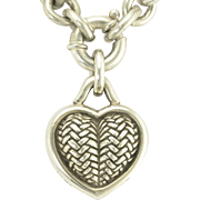 Vintage Barry Kieselstein-Cord Sterling Silver Chunky Heart Pendant Chain Necklace