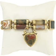 Fabulous Victorian Scottish Agate Link Bracelet and Heart Locket Padlock in 10k Gold