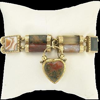 Fabulous Victorian Scottish Agate Link Bracelet and Heart Locket Padlock in 10k Gold