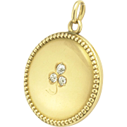 Antique Victorian 14k Gold Diamond Three Leaf Clover Shamrock Locket Pendant