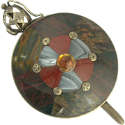 Handsome Victorian Scottish Agate Sword and Shield Motif Pin in Sterling Silver