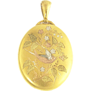 Beautiful Large Victorian Multi-Colored Gold Locket in 14k