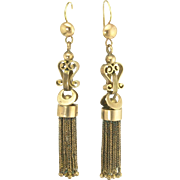 Attractive Victorian Enamel Fringe Pendant Earrings in 14k