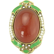 Super Art Deco Carnelian Seed Pearl and Enamel Ring in 14k White Gold