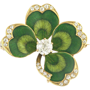 Charming Krementz Art Nouveau Diamond and Enamel Clover Pin Pendant in 14k Gold