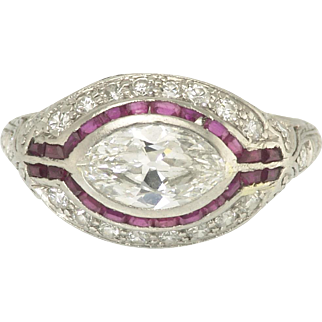 Wonderful Art Deco Marquise Diamond and Ruby Ring in Platinum