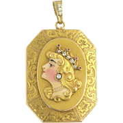 Outstanding Art Nouveau Enamel Ruby and Diamond Locket in 18k Gold