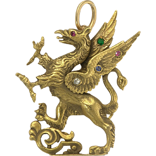 Antique Griffin Gryphon Rampant Watch Pin Pendant in 14k Gold with Diamond Ruby Sapphire