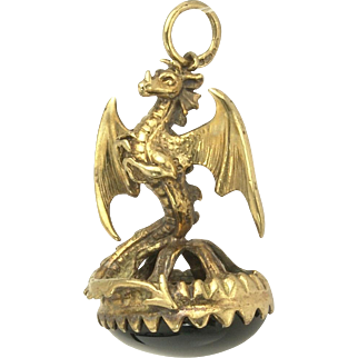 Antique Victorian English 9k Gold and Black Onyx Dragon Watch Fob Pendant - Birmingham