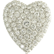 Vintage Diamond and Platinum Heart Pendant Brooch - Mid Century