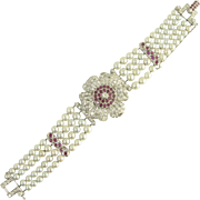 Luxurious Vintage Diamond Ruby Platinum and Cultured Pearl Flower Bracelet