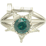 Vintage Seventies Diamond Blue Zircon and Platinum Star and Gavel Order of the Eastern Star Worthy Matrons Ring