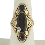 Extraordinary Art Nouveau Garnet Ring in 14k Rose and Yellow Gold