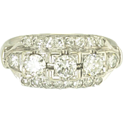 Vintage Diamond and 14k White Gold Three Row Ring