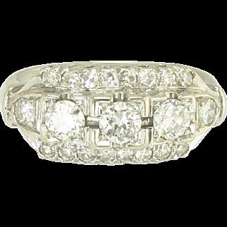 Vintage Diamond and 14k White Gold Three Row Ring