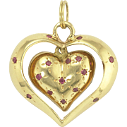 Unusual Retro Ruby Swinging Heart-in-Heart Pendant in 14k