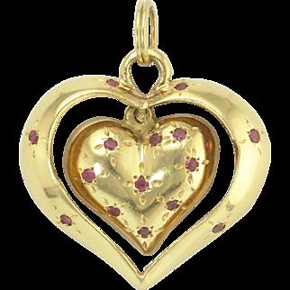 Unusual Retro Ruby Swinging Heart-in-Heart Pendant in 14k